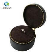 High quality round with bow-tie PU leather box ring case